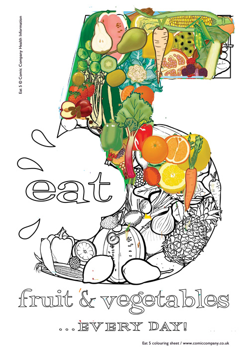 Eat 5 colouring sheet partly coloured in